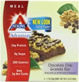 Atkins Advantage Granola Bars, Chocolate Chip, 5/1.7 Ounce (Pack of 2 )