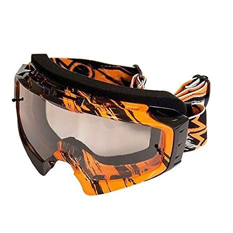 ONE tuning Masque de motocross, orange et noir, verre transparent