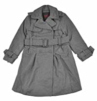 Yoki Girls Double-Breasted Long Faux Wool Pea Coat (6X, Charcoal)