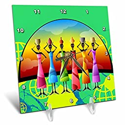 3dRose dc_205174_1 African American Woman Designer Art Original Desk Clock, 6 by 6\