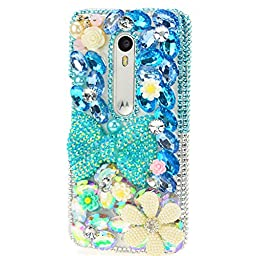 Motorola Droid Turbo 2 Case Case, Sense-TE Luxurious Crystal 3D Handmade Sparkle Diamond Rhinestone Clear Cover with Retro Bowknot Anti Dust Plug - Big Bowknot Flowers / Blue