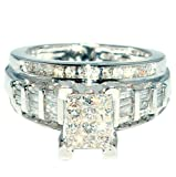 Princess Cut Diamond Wedding Ring 3 in 1 Engagement & bands white gold .9ct