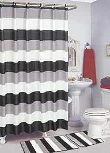 sally textiles stripe bath rug black white