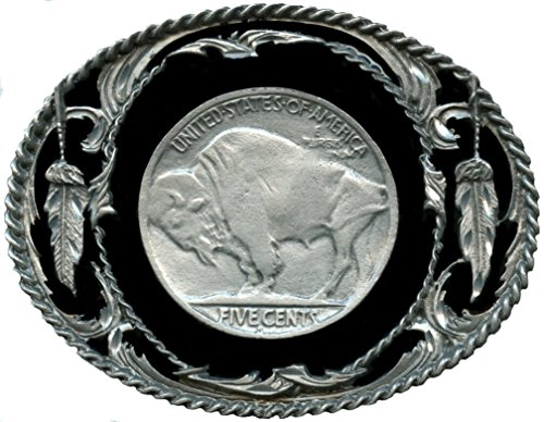 "Buffalo Nickel Design Belt Buckle 3-1/8"" x 2-1/2"" - Made In USA"