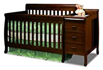 Big Sale Athena Kimberly 3 in 1 Crib and Changer with Toddler Rail, Espresso