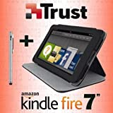 TRUST 2-in-1 Magnetic Multi-View Folio Cover Case Stand with Sleep/Wake Function + STYLUS for Amazon Kindle Fire 7