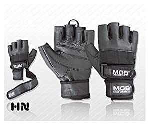 Leather Weight Lifting Gloves Power Lifting Lifter PADDED Palm Exercise Fitness Glove Cycling WheelChair Strengthen Home Gym (Small)
