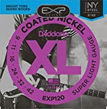 D'Addario EXP120 EXP Coated Nickel-Plated Steel Super Light  (.009-.042) Electric Guitar Strings