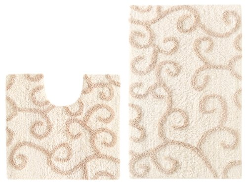 Cotton Craft – 2 Piece Bath Rug Set – New Scroll – Ivory Linen – 100% Pure Cotton with Latex Back – High Quality – Super Soft and Plush – Hand Tufted Heavy Weight Durable Construction – Larger Rug is 21×32 Oblong and Second rug is Contour 21×20 – Other Styles available – Large Scroll, Greek Key, Palm Tree, Grid Stripe, Solid Reversible, Pebbles, Tweed Race Track and Solid Reversible Race Track – Easy care machine wash