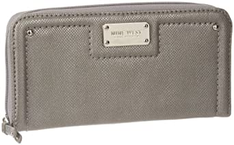 Nine West Cant Stop Shopper Ziparound Wallet,Gunmetal,One Size