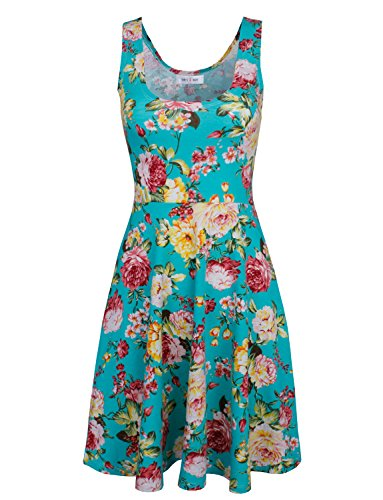 Tom's Ware Womens Casual Fit and Flare Floral Sleeveless Dress TWCWD054-GREEN-US L