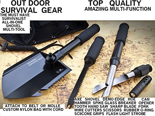 ALL in ONE Outdoor Survival Gear Camping Shovel Multi Tool Shtf & Bob Must Have Top Quality