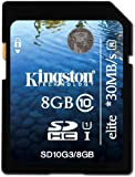 Kingston Technology 8GB Class 10 UHS-I Elite; 8192 MB; Secure Digital High-Capacity (SDHC); 30 MB/s; 24 mm; 32 mm; 2.1 mm (SD10G3/8GB)