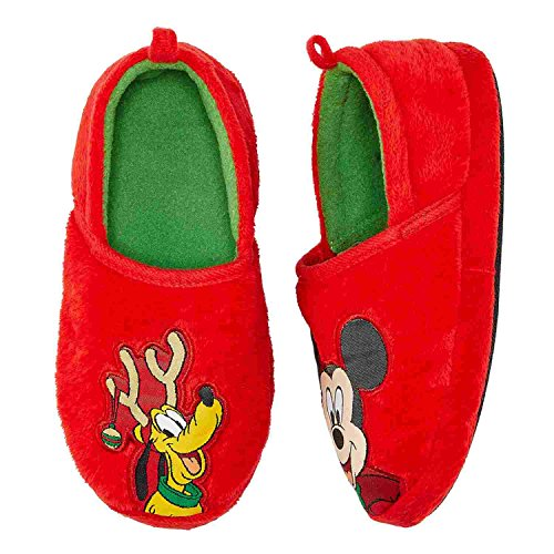 Disney Toddler Boys Pluto & Mickey Mouse Holiday Slippers Loafer House Shoes