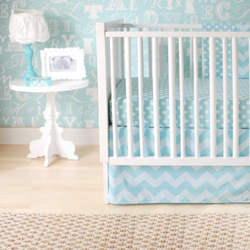 New Arrivals Zig Zag Baby 2 Piece Crib Bedding Set, Aqua
