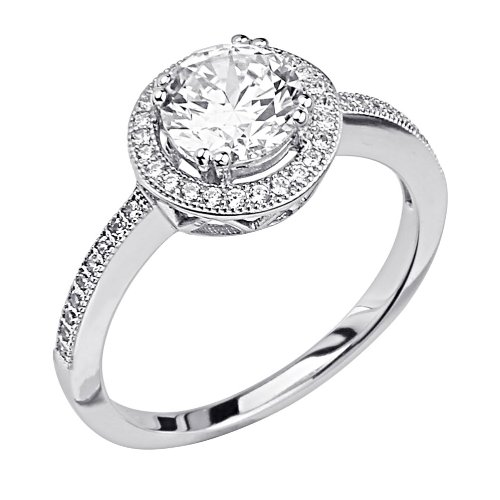 .925 Sterling Silver CZ Micro Pave Solitaire Halo Shimmering Designer Couture Ring