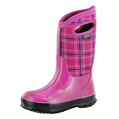 Bogs Girls' Classic Winter Plaid Tall Waterproof Winter Boot Fushcia 1 M US (Pink Insulated Boots compare prices)