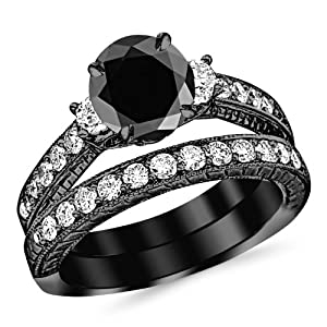3.03 Carat 14K Black Gold Three Stone Vintage With Milgrain & Filigree Bridal Set with Wedding Band & Diamond Engagement Ring with a 2 Carat Black Diamond Center (Heirloom Quality)