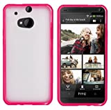 HTC One M8 Premium Transparent Clear Composite Material Back Cover Case (For 2014 HTC New Flagship Android Phone) + Travel (Wall) Charger + 3.5MM Stereo Earphones + 1 of New Assorted Color Metal Stylus Touch Screen Pen (Pink TPU Edge With Clear Plastic Middle)