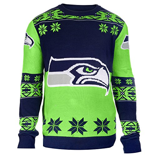 NFL-Seattle-Seahawks-Unisex-NFL-Big-Logo-Ugly-Crew-Neck-Sweater-Small