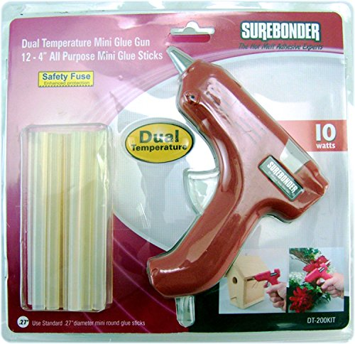 Surebonder DT-200KIT Mini Dual Temperature Glue Gun with 12 – 4-Inch All Purpose Glue Sticks Kit