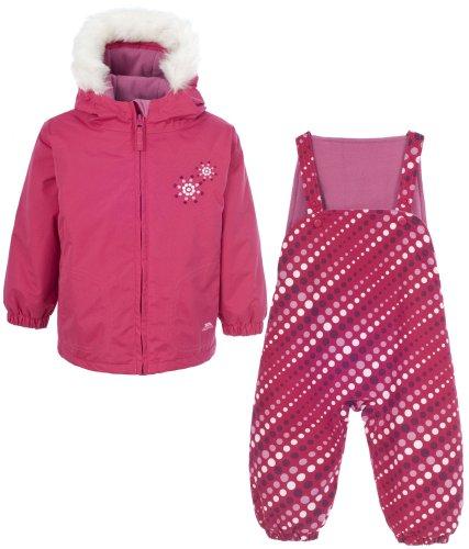 Girls TRESPASS IGGLE Pink Ski Jacket & Salopettes Pants Snow Suit Set Ages 6-24 Months