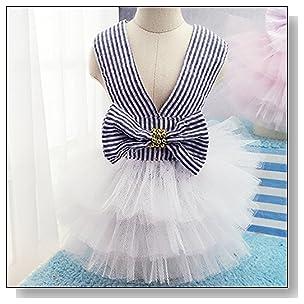 Celestte(TM)Pet Dog Dress,2016 New Fashion Striped Mesh Puppy Dog's Princess Dresses (S, Blue)