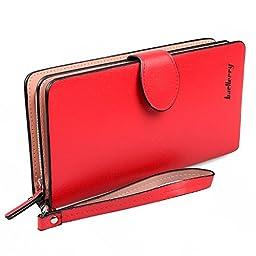 Gottowin Women\'s Leather Long Style Wallet Clutch Purse Handbag Card/Coin/Cash/Cellphone Holder Organizer Wristlet with Zipper & Snap Closure + Stylus pen (Red)