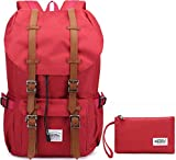 KAUKKO New Feature of 2 Side Pockets Outdoor Travel Hiking Backpack Laptop Schoolbag for Men and Women (Nylon Red [2PCS])
