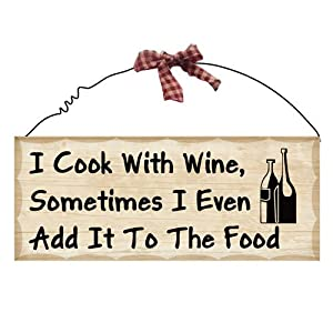 I Cook with Wine Wooden Plaque Sign Antique Look