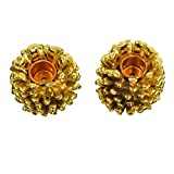 Set of 2 Metallic Gold Pine Cone Shaped Taper Candle Holders