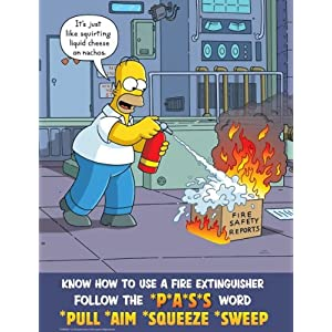 Simpsons Fire Safety Poster - Know How To Use A Fire Extinguisher Use