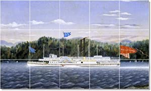 James Bard Ships Tile Mural Contemporary Home Construction. 24x40 Inches Using (15) 8x8 ceramic tiles.