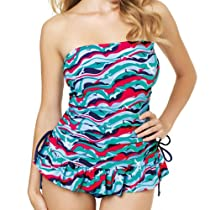 "Panache Cleo ""Tilly"" Underwire Bandeau Tankini Dress #CW0011 (30G, Bird Print)"