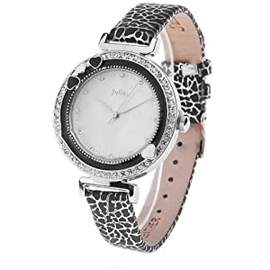 (JULIUS) Fashionable Waterproof Quartz Watch Wrist Watch Timepiece with Leather Strap for Women - Black SWWM1-121797