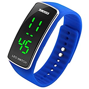 Niyatree Boys Girls Led Digital Watch Water Resistant Led Light Weight Dial Sport Student Wrist Watch - Blue