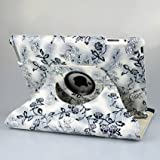 Ctech Ultra Stylish (Black/white) Embossed Flowers Case With 360 degrees Rotating Swivel Stand for iPad 3 / The New iPad (3rd Generation) /iPad 2 with Bonus Stylus, Supports Smart Cover Wake/Sleep Function