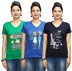 Flexicute Women's Printed V-Neck T-Shirt Combo Pack (Pack of 3)- Pakistan Green, Navy Blue & Royal Blue Color. Sizes : S-32, M-34, L-36, XL-38