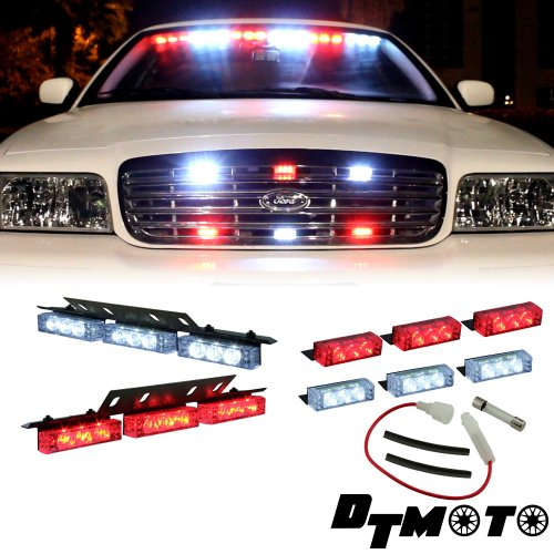Red White Clear 18X Led Emergency Vehicle Dash Deck Grill Strobe Warning Lights - 1 Set