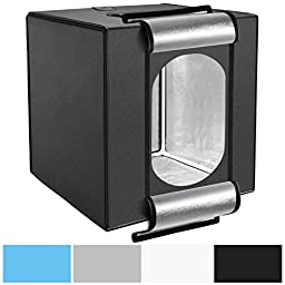 Neewer 16x16 inch /40x40 cm Photo Studio Shooting Tent Light Cube LED Photo Video Lighting Tent Kit with 4 Colors Backdrops (Gray Blue Black White) for Photography