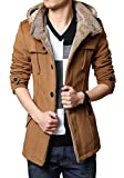 CQI Men's Fashion Winter Single Breasted Trench Slim Fit Outwear Jackets with Hood by NYC Leather Factory Outlet