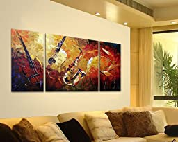 Sangu 100% Hand Painted Wood Framed 3-piece Hot Sale Musical festival For Abstract Oil Paintings Gift Canvas Wall Art Paintings For Living Room.