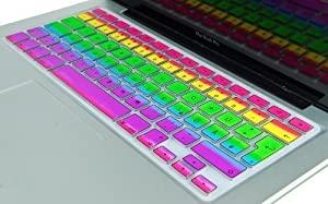 """Kuzy - European Layout EU/UK RAINBOW Keyboard Cover Silicone Skin for MacBook Pro 13"""" 15"""" 17"""" (with or w/out Retina Display) iMac and MacBook Air 13"""" (European/ISO Keyboard Layout) - Rainbow"""