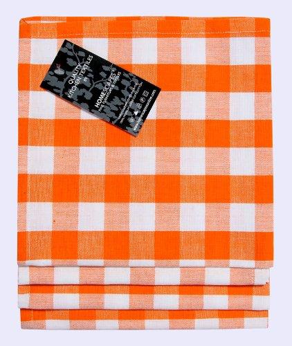 Homescapes servietten set block check 4tlg orange wei - Servietten dekorativ falten ...