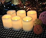 Battery Operated Candles - 6 Unscented Flameless Candles, 70+ Hours of Lighting (For Each Individual Candle), 6 Extra Batteries Included, LED Candles, Flameless Candle Set, Votive Candles, Decorations, Wedding Favors, Souvenirs, Centerpiece Candles, Ceremony, Restaurant Table, Candle Light Yoga