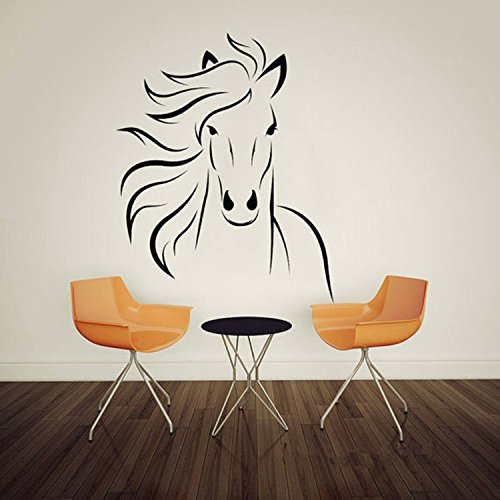 Yanqiao Large Animal Galloping Horses Wall Decal Sticker Children Room Tv Background Stickers PVC Removable 27.6x22.4