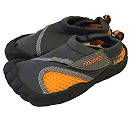 Little Kids Toddler Aquatic Water Shoes with Velcro Closure (6 M US Toddler, Gray)