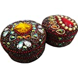 Antique Jewellery Boxes Vintage Style Gift Home Décor Beaded Material Table Top Jewellery Boxes Set Of 2 Pcs