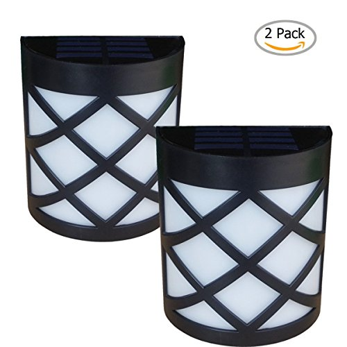 [Warm Light] Solar Light for Wall, porch, garden, fence, path; Sun powered outdoor Patio Deck Yard lamp, dusk to dawn sensor, 2 Pack (Outdoor Wall Solar Lights compare prices)