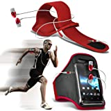 ( Red + Earphone ) Sony Xperia Z2 Case Custom Made Sports Armbands Running Bike Cycling Gym Jogging Ridding Arm Band Case Cover With Premium Quality in Ear Buds Stereo Hands Free Headphones Headset with Built in Microphone Mic and On-Off Button by ONX3®